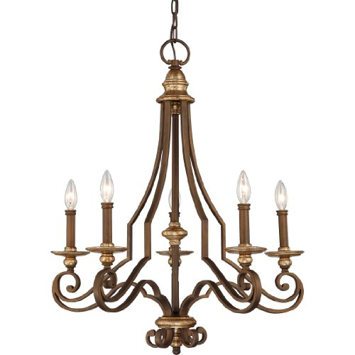 B0036LG18A Quoizel JI5005HL Jillian 5-Light Chandelier with Shadeless Candle-Lights, Heirloom