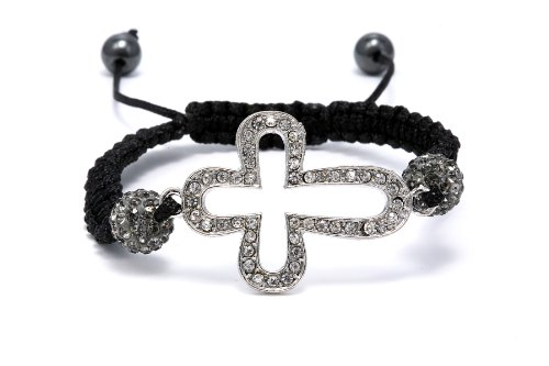Authentic Gray Color Crystals Cross Shape Adjustable Bracelet, Now At Our Lowest Price Ever but Only for a Limited Time!