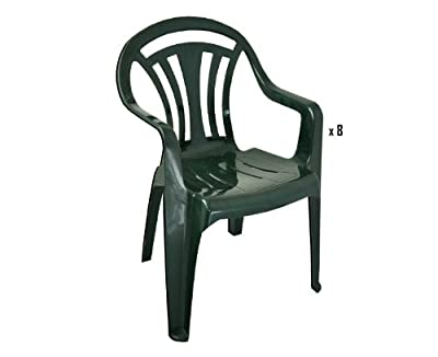 Garden Chair - Green - Patio Outdoor Plastic Furniture (Pack of 2