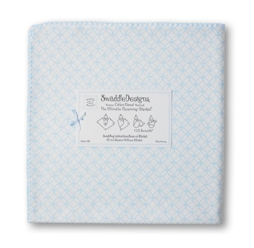 Swaddledesigns Ultimate Receiving Blanket Pastel Circle On Circles, Blue