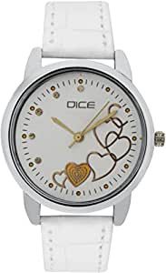 "DICE ""Grace 8820"" Fashionable, Elegant, Contemporary, Tasteful and attractive Watch for women. White Dial, Silver case and Anti allergic Leather Strap."
