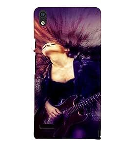 PrintVisa Music Girl Art 3D Hard Polycarbonate Designer Back Case Cover for Huawei Acend P6