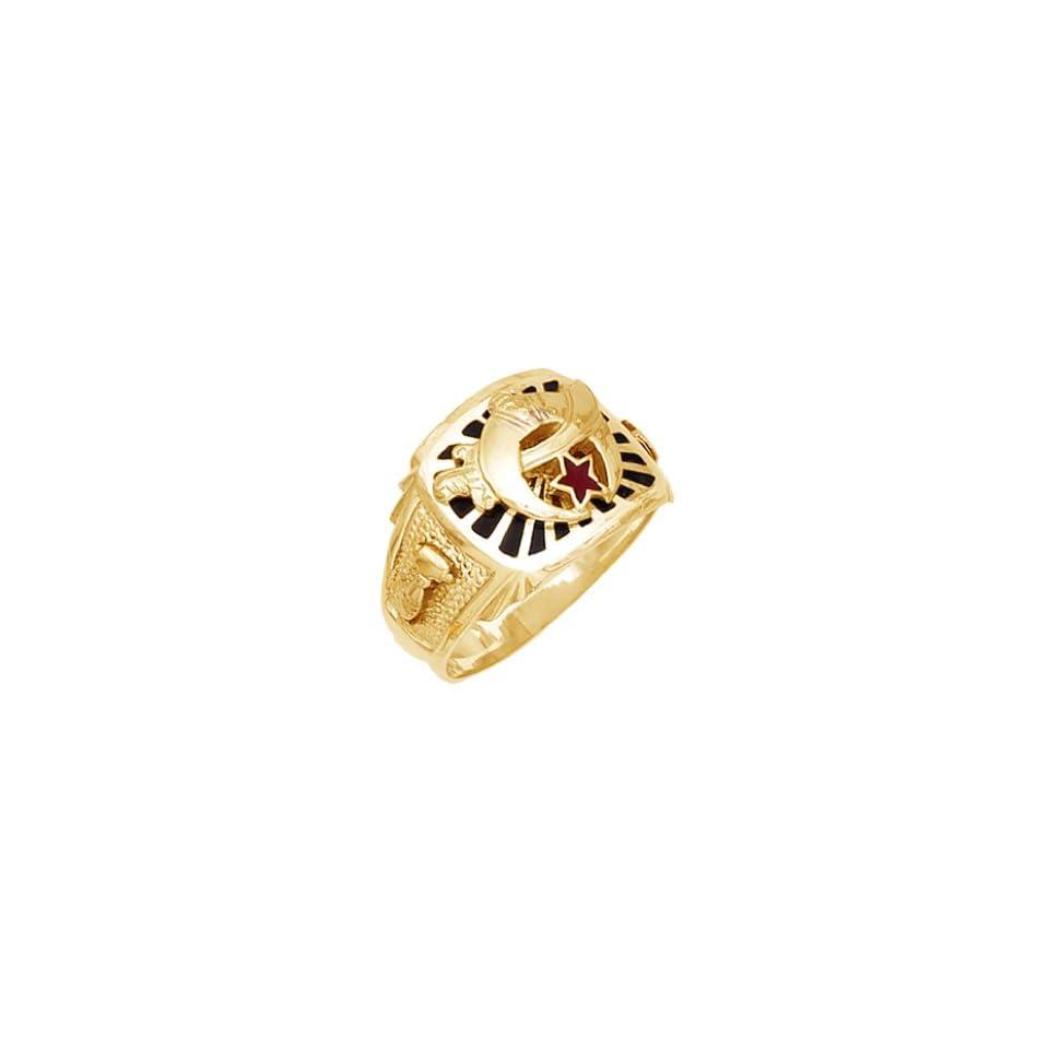 Mens Vermeil Masonic Freemason Shrine Ring (Size 10.5)