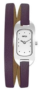 Opex - X0391LD5 - Ballerine - Montre Femme - Quartz Analogique - Cadran Acier Brossé - Bracelet Cuir Violet
