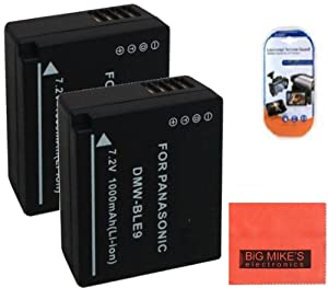 Pack of 2 DMW-BLE9 Batteries for Panasonic Lumix DMC-GF3 DMC-GF5 Digital Camera + More!!