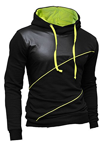 dr-fashion-mens-hoodie-sweatshirt-black-faux-leather-neon-finishings-slim-fit-urban-style