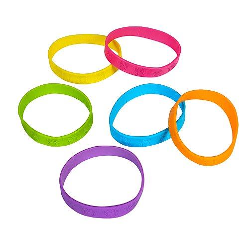 """(24) 8"""" Neon Rubber MonkeyFace Bracelets - 1"""