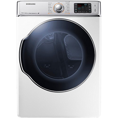 The massive Samsung DV56H9100GW 9.5 Cu. Ft. Front-Load Gas Steam Dryer with Dual Heaters, in white, gives even the largest of fa