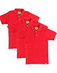 Campus Sutra Men Red Polo Neck Tshirt Pack Of 3 - B00QSD9YQY