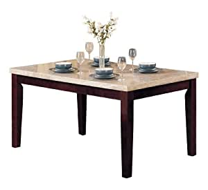 Acme 17058 marble top dining table espresso finish for Dining room tables on amazon