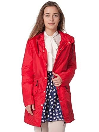 American Apparel Women's Nylon Taffeta Rain Parka - Red / Black / XXS/XS