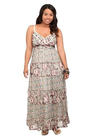 Paisley And Ditsy Twin Print Chiffon Maxi Dress