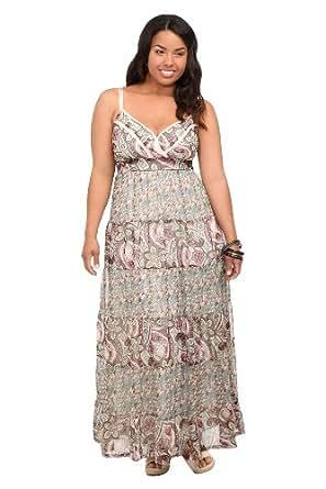 Paisley And Ditsy Twin Print Chiffon Maxi Dress