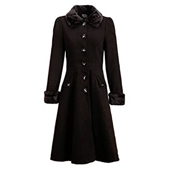 Women's Black Faux Fur Collar Vintage Dress Coat Winter Jacket