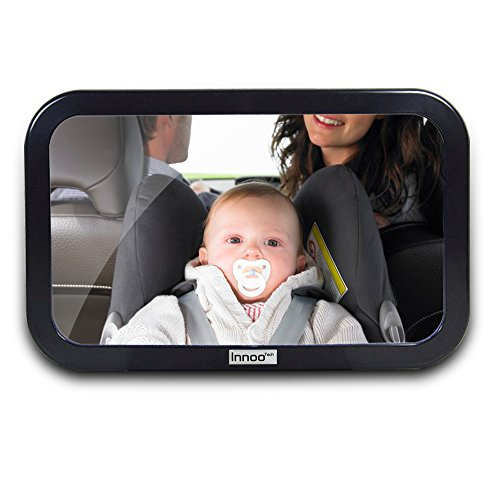 Innoo Tech Baby Car Mirror - Shatterproof Tested - Easily See Your Kid in the Backseat - Baby Backseat Mirror - Baby In Car Sign and Cleaning Microfiber Cloth Included