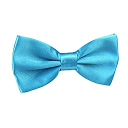 Mens Adjustable Neck Solid Bow Ties Pre Tied Turquoise