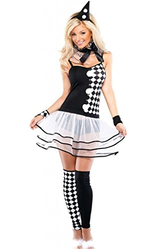 Cfanny Women's 6pcs Black White Harlequin Burlesque Clown Costume