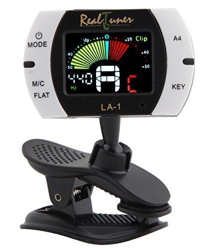 Real Tuner - Chromatic Clip-on Tuner for Guitar, Bass, Violin, Ukulele, Banjo, Brass and Woodwind Instruments - Bright Full Color Display - Extra Mic Function - A4 Pitch Calibration - Transposition (Fender Jazz Bass Accesories compare prices)