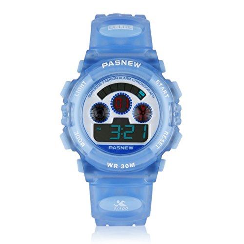 Excelvan Pasnew Cute Digital Sport Waterproof Wrist Watch 3 Atm Waterproof With Alarm Stopwatch For Kids Girls Boys (Style2-Blue)