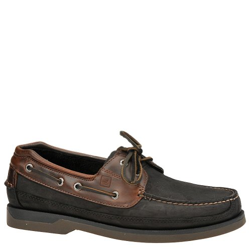 Sperry Top-Sider Mens Mako 2-Eye Canoe Moc Boat Shoe Black/Amaretto Size 10