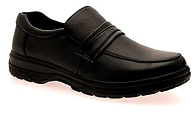MENS COMFORT LEATHER LINED FLEXIBLE SOLE SHOES BLACK SLIP ON WITH STRAP STYLE THREE SIZE 8
