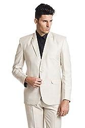 Wintage Men's OCM Linen Wool Blend Two Buttoned Notch Lapel Festive and Casual Beige Blazer