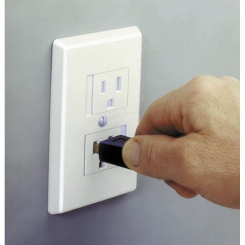 Safe Plate Electrical Outlet Cover - Standard (Center Screw) - White Color - 2 Pack