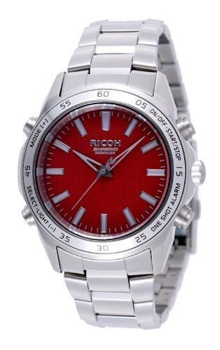 Ricoh Men'S Watch Shrewd Reminder Inductive Charge Analogue Vibration Alarm Chronograph Led Winered 660001-22