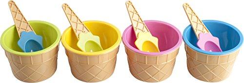 Home Formaghiaccioli Confezione 4 Coppette Gelato con Cucchiaio, Plastica, Multicolore