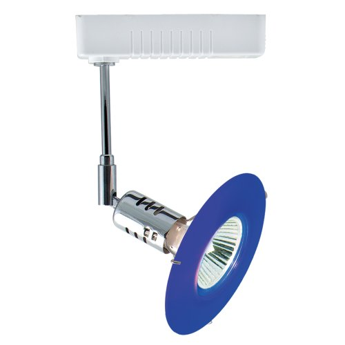 Jesco Lighting HLV80650BU/CHWH Mini Deco 806 Series Low Voltage Track Light Fixture, 50 Watt, Blue Glass, Chrome Finish With White Transformer