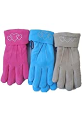 Set of Three Fleece Microfiber Lined Gloves for Women and Teens