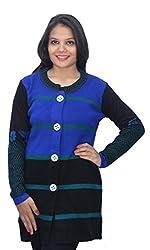 Romano Blue Winter Wool Coat Sweater for Women