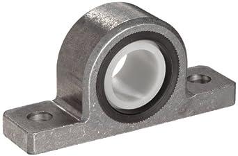 Spyraflo PB2-12M-AF Delrin Acetyl Bearing Pillow Block, 2 Bolt Holes, 12 mm Bore Diameter, Aluminum, Metric