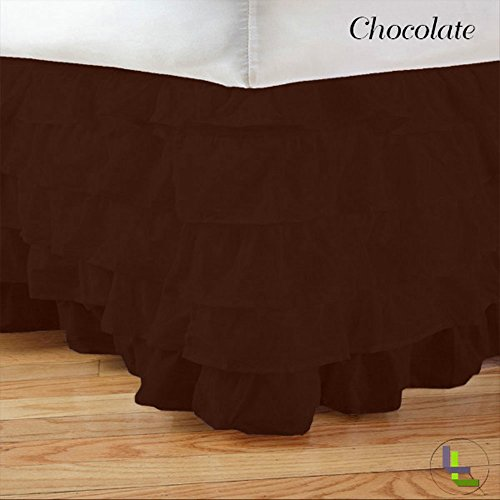 Floris Fashion Expanded Queen 500Tc 100% Egyptian Cotton Chocolate Solid Superb Finish 1Pcs Multi Ruffle Bedskirt Solid (Drop Length: 15 Inches) front-1050466