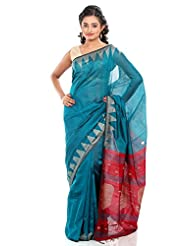 B3Fashion Bengal Tant Handloom Super Soft Silk Saree In Green With Temple Border Work In Beige Color And Mango...