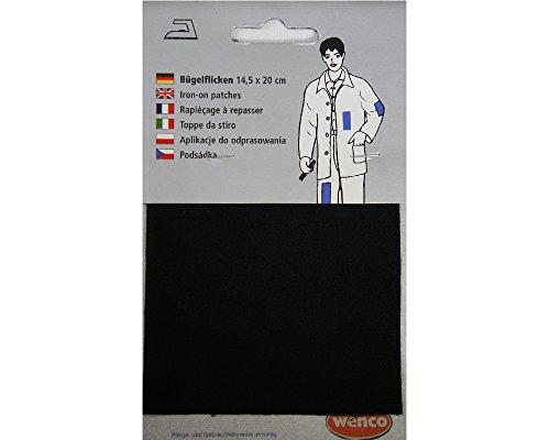 Bügelflicken 14,5 x 20cm aus 100& Baumwolle, Applikation, Aufnäher, Reparatur, Jacken, Hosen, Hemden, zuschneidbar (Schwarz)