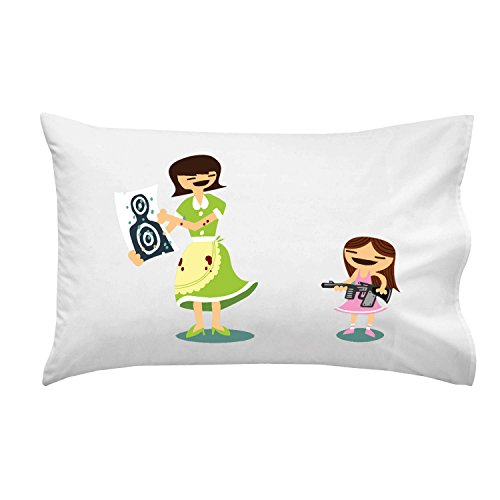 """Good Job Baby"" Funny Mom & Daughter Machine Gun Target Practice - Pillow Case Single Pillowcase front-934374"