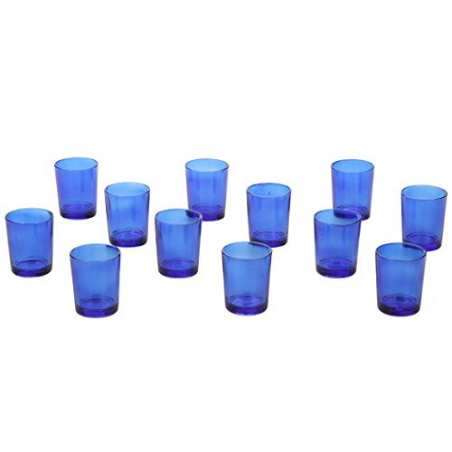 Hosley's Set of 12 Blue Glass Votive / Tea Light Holders. Ideal for Weddings, Parties, Spa & Aromatherapy. Great Value. Use with Hosley Tea Lights and Votives (Light Blue Tea Light Holder compare prices)
