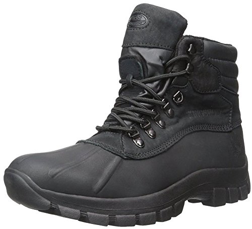 KingShow Men's Waterproof Leather Boots Snow Winter Black Size 9