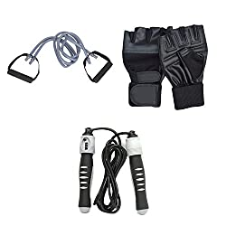 Forever's Combo Of GYM Gloves Skipping Rope Toning Tube By Forever Online Shopping