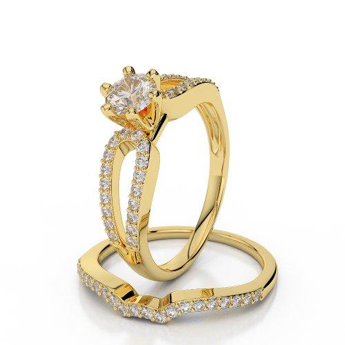 18 KT Yellow Gold 0.65 Ct Diamond Wedding Bridal Ring Set