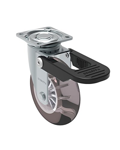 Schioppa, GLAP 310 GEL Black FPI, 3″ (75 mm) Swivel Brake Caster, Non-Marking Polyurethane Wheel, 90 lbs, Plate: 1-21/32 x 1-21/32″ (BH 1-1/4 x 1-1/4″)