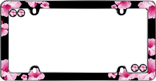 Cruiser Accessories 23083 Chrome 'Hibiscus' License Plate Frame with Fastener Caps (Hibiscus License Plate Frame compare prices)