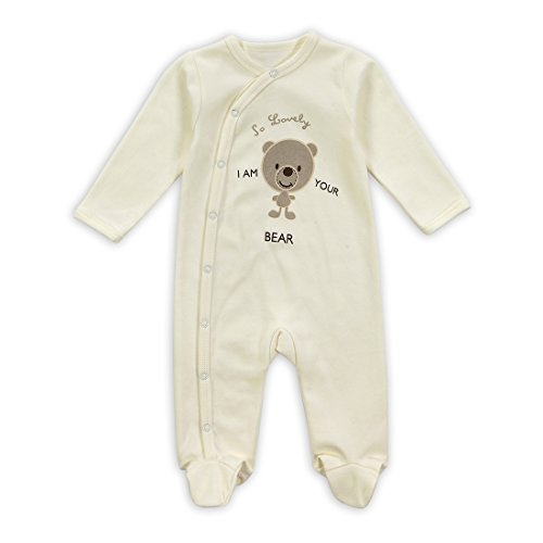 Babe Maps Unisex Baby's Long Sleeve Footie 100% Cotton (3 Months, I Am Your Bear)