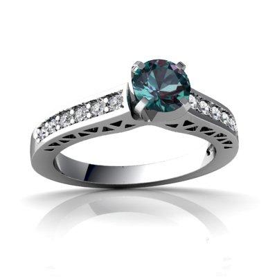 14ct White Gold Round Alexandrite Ring
