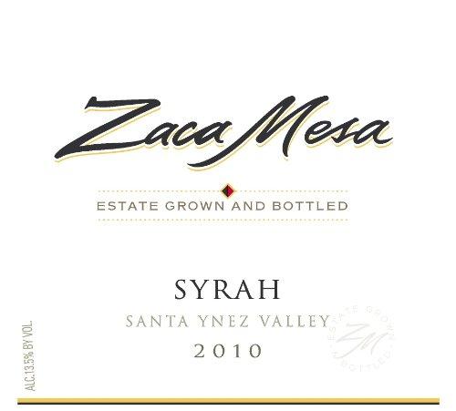 2010 Zaca Mesa Winery Syrah Santa Barbara County, Santa Ynez Valley 750 Ml