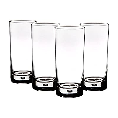 Home Essentials Red Series 17 Oz. Bubble-bottomed Round Cut Highball Drinking Glasses, Set of 4