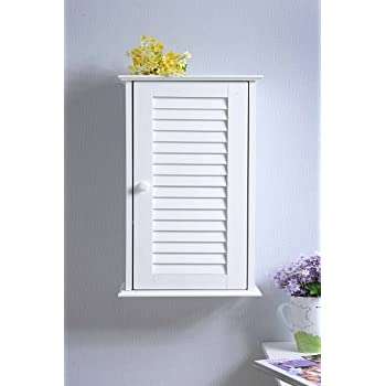 Homecharm-Intl HC-057 Wall Cabinet with Louvered Door,White