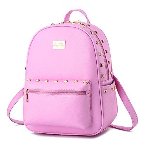 koson-man-zaino-da-donna-con-rivetti-piccoli-spalle-rosa-rosa-kmukhb194