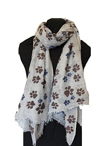 graue-hund-pfote-print-langer-schal-mit-ausgefranste-rand-grey-dog-paw-print-long-scarf-with-frayed-